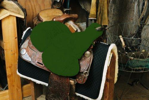 Engel Lammfell Sattelsitzbezug western Farbe grün (Sabez 3, mit Hornausschnitt / Horndurchlass)