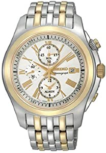 Men's Chronograph Alarm Light Silver Dial Two Tone Tone Stainless Steel