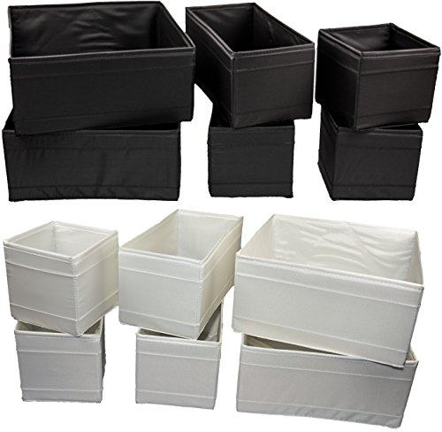 IKEA-12-er-Set-Aufbewahrungsboxen-Skubb-zwlf-Kisten-Regaleinstze-je-2-Stck-in-3-versch-Gren-und-Farben-12er-Set-schwarz-wei