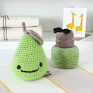 Juicy Pear Crochet Kit. 100% Lambswool yarn NO acrylic! - Everything you need including Stuffing
