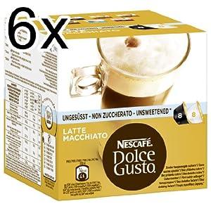 Nescafé Dolce Gusto Latte Macchiato Unsweetened, Pack of 6, 6 x 16 Capsules (48 Servings)