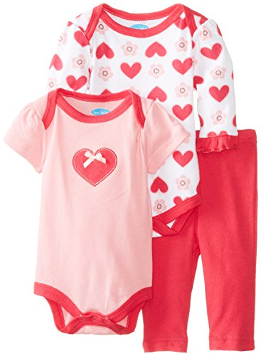 Bon Bebe Baby-Girls Newborn Heart Pant Set With 2 Bodysuits, Pink/Red, 0-3 Months