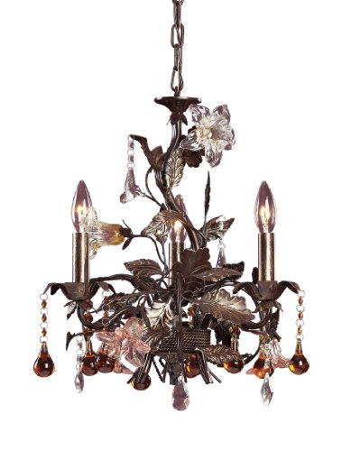 Artistic Lighting 85001 3-Light Chandelier In Deep Rust and Hand Blown Florets