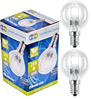 2 x Eco Halogen Energy Saving Mini Golf Balls Globes 28W = 40w SES E14 Small Edison Screw Classic Clear Round, Dimmable Light Bulbs Lamps, G45, Mains 240V by Long Life Lamp Company