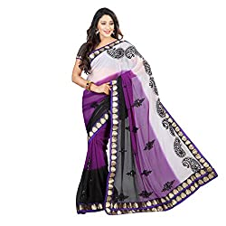Bikaw Women's Georgette Saree (RS_Ragini Sarees_08 A_Multicolor_Free Size)