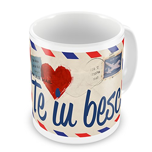 Coffee Mug I Love You Romanian Love Letter From Romania - Neonblond