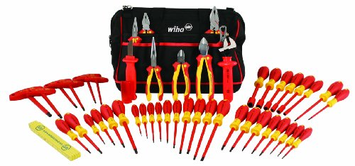 Wiha 32874 Insulated Tool Set With Pliers, Cutters, Nut Drivers, Screwdrivers, T Handles, Knife And Ruler, With Canvas Tool Bag, , 48 Piece,