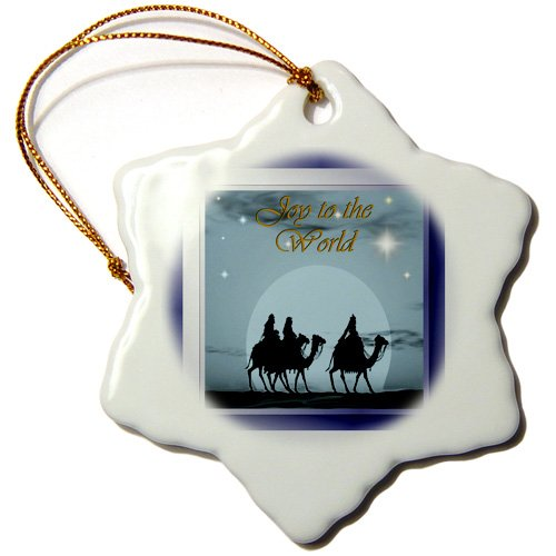 orn_26674_1 SmudgeArt All Things Christmas – Joy To The World – Ornaments – 3 inch Snowflake Porcelain Ornament