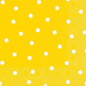 20 servietten wei e punkte auf gelb gepunktet muster zeitlos 33x33cm k che. Black Bedroom Furniture Sets. Home Design Ideas