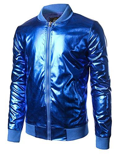 JOGAL Mens Metallic Nightclub Styles Zip Up Varsity Baseball Bomber Jacket Small Blue (Varsity Jacket Hooded Light Blue compare prices)