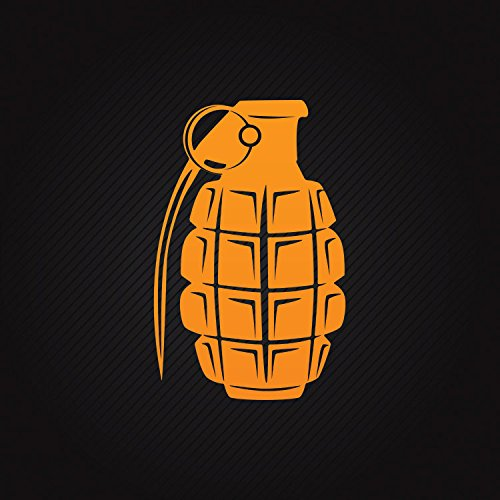 Decal Sticker Hand Grenade Weatherproof Motorbikes Activity Permanen Orange (24 X 15.3 In)