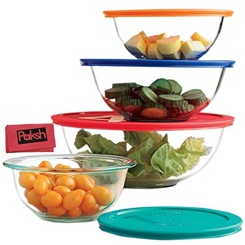 Glass Mixing Bowls With Lids | Glass Food Storage Containers | Dishwasher, Oven and Microwave Safe, Clear [Set of 8] Bundled with Cloth
