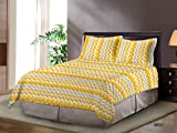 Bombay Dyeing Cardinal Cotton Double One bedsheet and Two Pillow cover Yellow