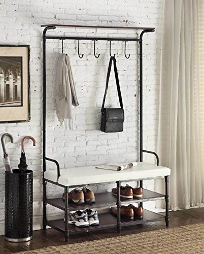 Black Metal And White Bonded Leather Entryway Shoe Bench