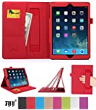 Apple iPad Air (iPad 5) Case Cover, FYY® Premium Leather Case Stand Cover with Card Slots, Pocket, Elastic Hand Strap and Stylus Holder for Apple iPad 5 (Apple iPad Air 2013 Generation) Red (With Auto Wake/Sleep Feature)