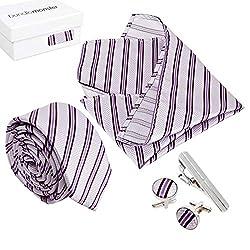 Bundle Monster Mens Fashion Accessory Combo Kit - Purple Stripes