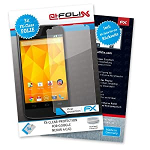 atFoliX Lámina protectora de pantalla FX-Clear para Google Nexus 4 (LG) (3 uds.) - incl. parte frontal y trasera. ¡Protección para la pantalla transparente como el cristal! Máxima calidad