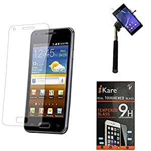 iKare Premium Shatter Proof Tempered Glass Ultra Clear Screen Protector for HTC Desire 626 626G+ + Selfie Stick Monopod with Aux (No Battery Needed)