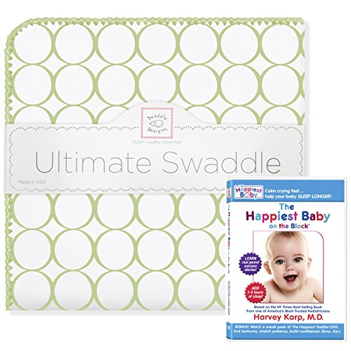 SwaddleDesigns Ultimate Swaddle Blanket Plus The Happiest Baby DVD Bundle, Mod Circles, Kiwi