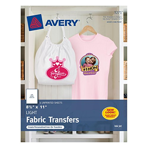 Avery T-shirt Transfers for Inkjet Printers, 8.5 x 11 Inches, for use with White or Light Colored Fabric, 6 Sheets (03271) (Clear Iron On Transfer Paper compare prices)