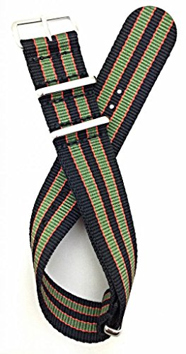 22Mm Nato Style, High Quality Nylon Fabric Watch Strap - Black/Red/Green