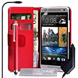 Yousave Accessories PU Leather Wallet Cover with Stylus Pen and Car Charger for HTC One Mini - Red