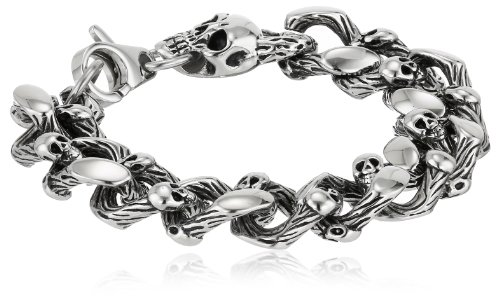 Men's Stainless Steel Skull Curb Bracelet, 8.5