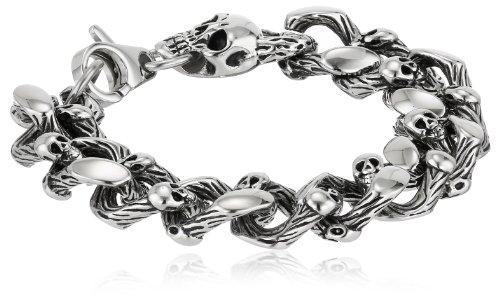 Men's Stainless Steel Skull Curb Bracelet, 8.5