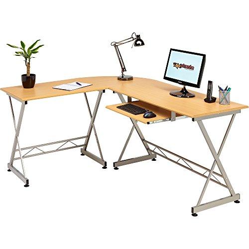 corner computer desk writing table with keyboard shelf for. Black Bedroom Furniture Sets. Home Design Ideas
