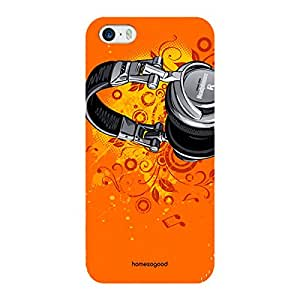 HomeSoGood Orange Abstract Music Headphones 3D Mobile Case For iPhone 5 / 5S (Back Cover)
