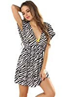 Rebecca Lujan Women Deep V Neck Open-back Beach Cover Up Beach Skirt