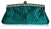 Ladies Teal Blue Satin Ruched Evening Clutch Wedding Bag