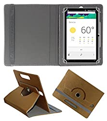 Acm Designer Rotating 360° Leather Flip Case For Domo Slate X15 Tablet Stand Premium Cover Golden