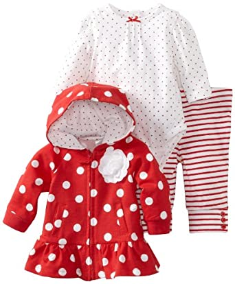 Little Me Baby-girls Newborn Polka Dots 3 Piece Jacket Set, White, 6 Months