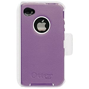 OtterBox Universal Defender Case for iPhone 4 (Purple Silicone &amp; White Plastic)