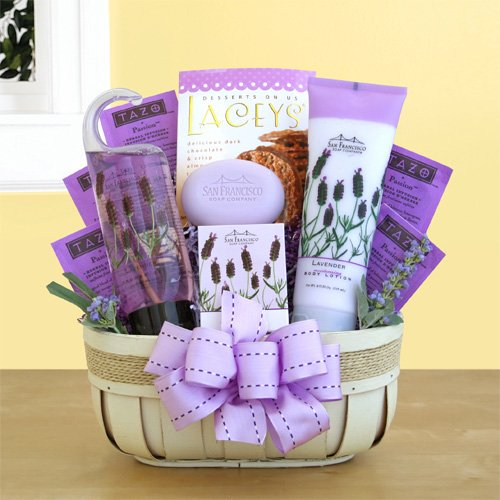 Lavender Bath and Body Womens Spa Gift Basket