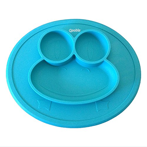 Qooble Silicone Placemat + Plate for Babies, Infants, Toddlers and Kids in Blue (Medium Size)