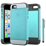 iPhone 5C Case, ULAK Ultra Fit Dual Layer Hybrid Hard PC TPU Bumper Case for Apple iPhone 5C with Screen Protector and Stylus (PC Aqua Blue + TPU Grey)