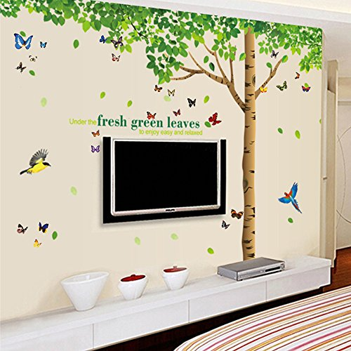 Unique  Extra Large in with DIY Many Butterflies uamp Under the Fresh Green Leaves uamp Tree to Enjoy Easy and Relaxed Quote Removable Wall Decal Sticker