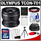 Olympus TCON-T01 Tele Converter Lens & CLA-T01 Adapter Ring Pack for Tough TG-1, TG-2 & TG-3 iHS Camera with 32GB Card + Case + Li-90B Battery + Flex Tripod + Accessory Kit