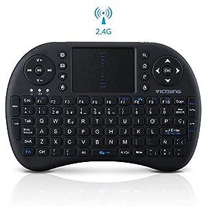 Mini Teclado Inalámbrico portátil de VicTsing Multifunción 2.4GHz RF con Touchpad para el PC, HTPC, TV, Móvil,Vehículo, Smart TV Box, Windows 2000 XP Vista 7 8 10, MacOS, Linux, Android- Diseño Español