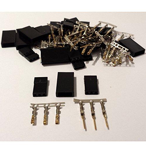 10-Paar-20-Stck-Graupner-JR-kompatible-Servostecker-Stecker-u-Buchse-vergoldet-Crimp-Set