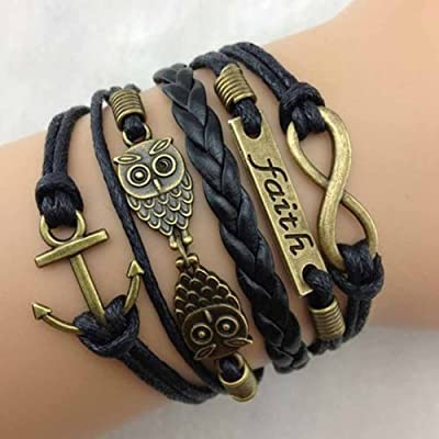 abcsell Gloous 1 pcs Vintage Antique Bronze Anchor Rudder Owl Charms Leather Rope Bracelet Wristband