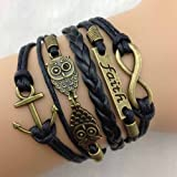 Best Rudder Owl Infinity Antique Bronze Korea Velvet Friendship Leather Cute Bracelet (2)