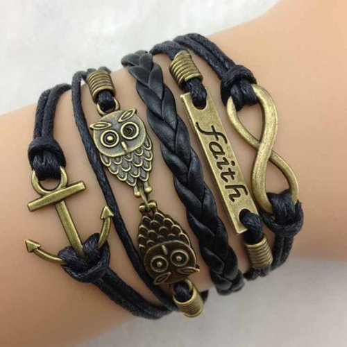 Top Seller Vintage Antique Bronze Leather Rope Bracelet Wristband Accessories (Anchor Rudder Owl Charms)