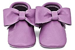 Baby Moccasins, The Coral Pear Bow Moccasin, Genuine Leather Shoes for Babies & Toddlers, Plum, Size 2M (Babies & Toddlers)
