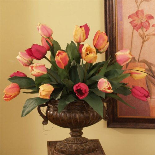 "19"" Designer Silk Tulips Floral Centerpiece"