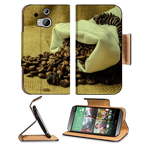 Coffee Beans In Burlap Sack 3Dcom Htc One M8 Flip Cover Case With Card Holder Customized Made To Order Support Ready Premium Deluxe Pu Leather