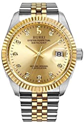 BUREI Men's BM-5003-52GG-1 Two Tones Gold-plated Stainless Steel Dress Automatic Watch (Gold Dial)