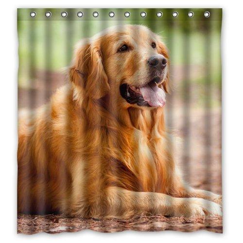 Home&Family Polyester Bath Curtains Print Cute Pet Doggy Golden Retriever Bathroom Shower Curtain with Ringss 66 x 72